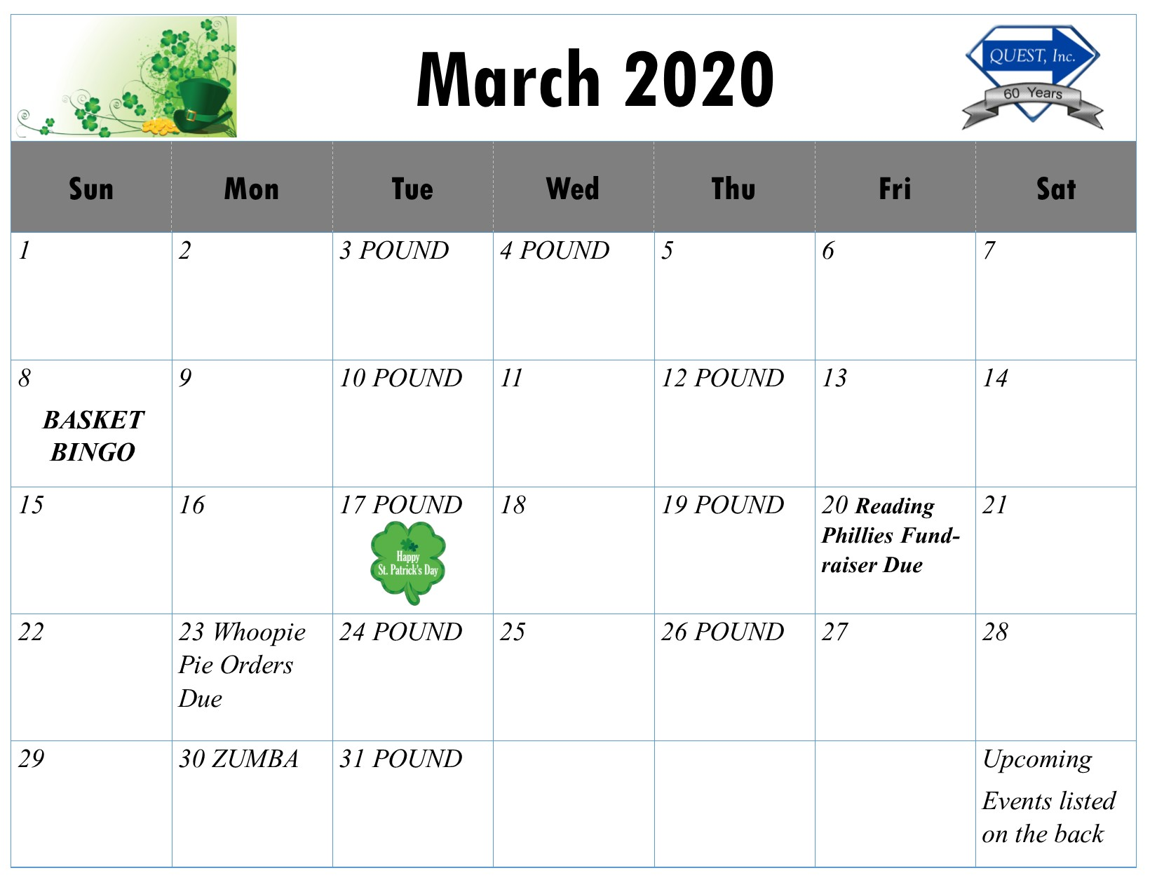 Monthly Calendar March 2020