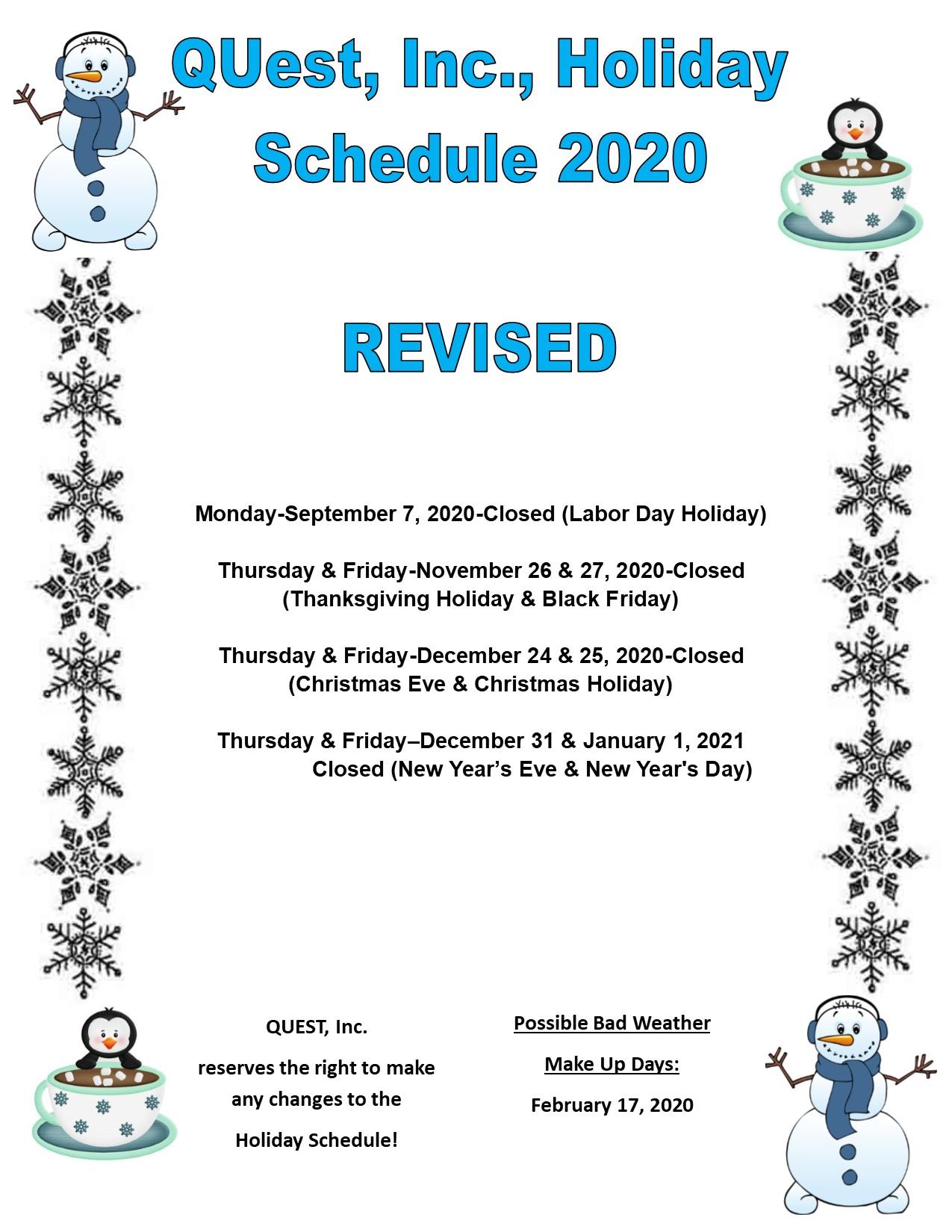 Holiday Schedule 2020 UPDATES